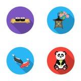 Sushi, koi fish, Japanese lantern, panda.Japan set collection icons in flat style vector symbol stock illustration web. Sushi, koi fish, Japanese lantern, panda Royalty Free Stock Photos
