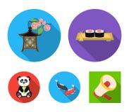 Sushi, koi fish, Japanese lantern, panda.Japan set collection icons in flat style vector symbol stock illustration web. Sushi, koi fish, Japanese lantern, panda Royalty Free Stock Image