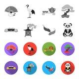 Sushi, koi fish, Japanese lantern, panda.Japan set collection icons in monochrome,flat style vector symbol stock. Illustration Stock Photos