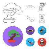 Sushi, koi fish, Japanese lantern, panda.Japan set collection icons in outline,flat style vector symbol stock. Illustration Stock Photography