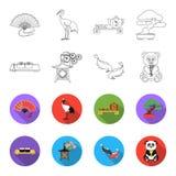 Sushi, koi fish, Japanese lantern, panda.Japan set collection icons in outline,flet style vector symbol stock. Illustration Royalty Free Stock Photos