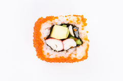 Sushi-krab vlees, avocado en rode kaviaar. Hoogste mening Royalty-vrije Stock Afbeeldingen
