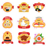 Sushi Label Set. Sushi and traditional japanese food label set  vector illustration Stock Image