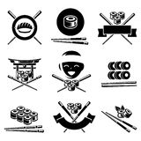 Sushi labels and elements set. Vector Royalty Free Stock Image