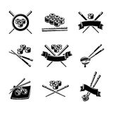 Sushi labels and elements set. Vector Stock Images