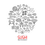 Sushi line art circle concept Royalty Free Stock Image