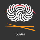 Sushi logo concept. Sushi house vector logo concept. Geometric illustration with optical illusion. Simple flat style. Japanese restaurant logotype Stock Photo