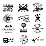 Sushi logo icons vector set. Sushi black silhouette logo sign design elements. Sushi logos, badges, label icons vector  on white. Sushi logotype isolated on Royalty Free Stock Photo