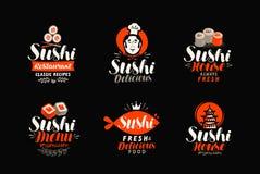 Sushi logo or label. Japanese food, seafood, restaurant typography. Vector illustration. Sushi logo or label. Japanese food, seafood, restaurant typography stock illustration
