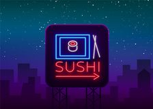 Sushi logo in neon style. Bright neon sign with text is . Seafood, Japanese food. Bright billboard billboard. Restaurant advertising bar of Japanese food sushi Royalty Free Stock Photos