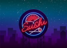 Sushi logo in neon style. Bright neon sign with text is isolated. Seafood, Japanese food. Bright billboard billboard. Restaurant advertising bar of Japanese stock illustration
