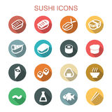 Sushi long shadow icons Royalty Free Stock Photography