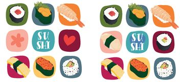 Sushi love. Illustration of various types of sushi Royalty Free Stock Image