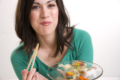 Sushi Lunch Makes This Woman Very Happy Royalty Free Stock Photo