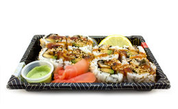 Sushi lunch in a box. For takeout, isolated on white Royalty Free Stock Photo