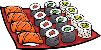 Sushi lunch cartoon illustration Stock Photography