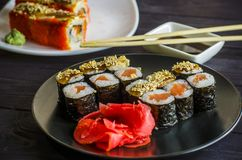 Sushi mackey on a platter. Sushi mackerel with salmon and eel on a platter Royalty Free Stock Photo