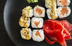 Sushi mackey on a platter. Sushi mackerel with salmon and eel on a platter Royalty Free Stock Photos