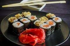 Sushi mackey on a platter. Sushi mackerel with salmon and eel on a platter Royalty Free Stock Images