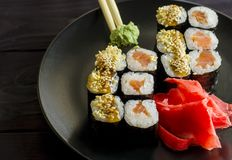 Sushi mackey on a platter. Sushi mackerel with salmon and eel on a platter Royalty Free Stock Image