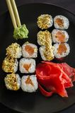Sushi mackey on a platter. Sushi mackerel with salmon and eel on a platter Stock Photos