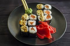 Sushi mackey on a platter. Sushi mackerel with salmon and eel on a platter Stock Photo