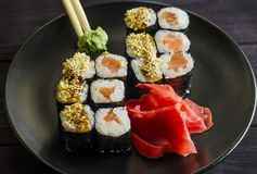 Sushi mackey on a platter. Sushi mackerel with salmon and eel on a platter Royalty Free Stock Photography