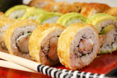Sushi macro shot. Studio shot of a group of sushi rolls, on a natural setup Royalty Free Stock Image