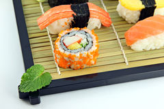 Sushi made ​​from Crab Meat on a bamboo dish. Royalty Free Stock Photo