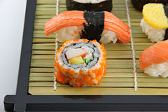 Sushi made ​​from Crab Meat on a bamboo dish. Stock Images
