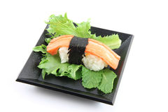 Sushi made ​​from Crab meat on dish. Royalty Free Stock Photography