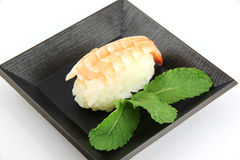 Sushi made from Shrimp meat. Royalty Free Stock Images