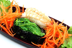 The Sushi made ​​from Shrimp and nori. Stock Images