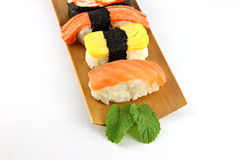 Sushi made ​​from Tuna fish on a bamboo dish. Stock Images