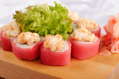 Sushi maguro hotate mayonnaise. Closeup Stock Photo