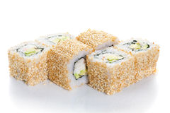 Sushi maki. With sesame on white ground stock photography
