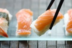 Sushi and maki. Delicious japanese maki and sushi royalty free stock photos