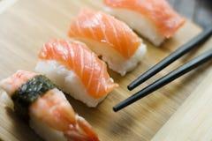 Sushi and maki. Delicious japanese maki and sushi stock photo