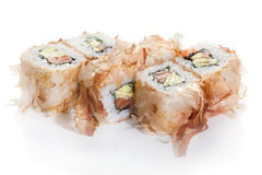 Sushi maki with chips. Sushi maki in fish chips on white ground royalty free stock photography