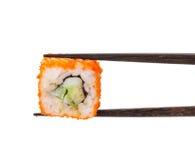 Sushi maki in chopsticks Stock Images