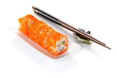 Sushi maki and chopsticks Royalty Free Stock Photo