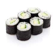 Sushi maki with cucumber. Isolated on white background royalty free stock photo