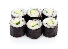 Sushi maki with cucumber. Isolated on white background stock photos