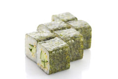 Sushi maki with cucumber and sesame isolated Stock Photo