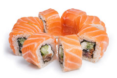 Sushi maki with fresh salmon Royalty Free Stock Images
