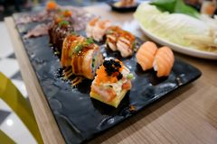 Sushi and maki or Japanese roll Royalty Free Stock Photo