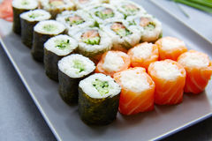 Sushi Maki and Niguiri California roll stock photos