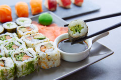 Sushi Maki and Niguiri soy sauce and wasabi Royalty Free Stock Photography