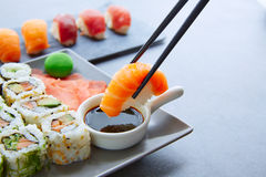 Sushi Maki and Niguiri soy sauce and wasabi Royalty Free Stock Photo