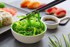 Sushi Maki and Niguiri soy sauce and wasabi Stock Image